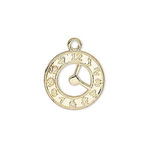 charm, gold-finished pewter (zinc-based alloy), 18mm double-sided clock face. sold per pkg of 10.