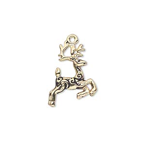 charm, gold-finished pewter (zinc-based alloy), 20x14mm double-sided reindeer with antlers and fancy curl design. sold individually.