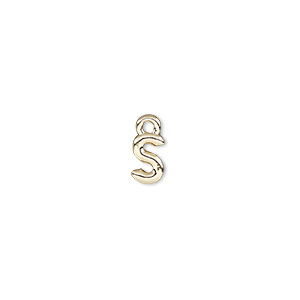 charm, gold-finished pewter (zinc-based alloy), 7.5x5mm alphabet letter s. sold per pkg of 2.