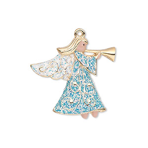 charm, gold-finished pewter (zinc-based alloy) and enamel, blue / white / peach, 25x24mm single-sided angel with horn and glittery wings and robe. sold individually.