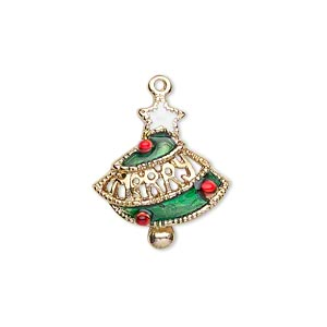 charm, gold-finished pewter (zinc-based alloy) and enamel, green / red / white, 21x18mm single-sided christmas tree with merry. sold per pkg of 2.