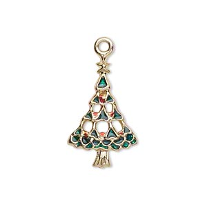charm, gold-finished pewter (zinc-based alloy) and enamel, green and red, 23x15mm single-sided christmas tree. sold per pkg of 2.
