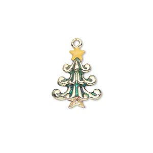 charm, gold-finished pewter (zinc-based alloy) and enamel, green and yellow, 18x14mm double-sided christmas tree with star. sold individually.