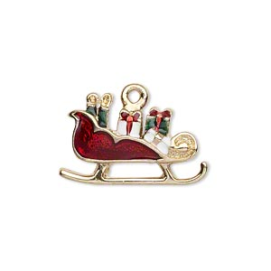 charm, gold-finished pewter (zinc-based alloy) and enamel, red / white / green, 25x15mm left- and right-facing single-sided christmas sleigh. sold per pair.
