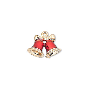 charm, gold-finished pewter (zinc-based alloy) and enamel, red, 16.5x12mm double-sided bells with bow. sold individually.