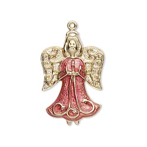 charm, gold-finished pewter (zinc-based alloy) and enamel, rose pink, 27x19mm single-sided angel. sold individually.