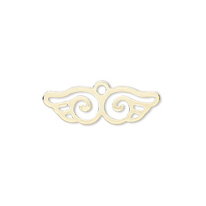 charm, gold-finished steel, 25x8mm wing with cutout. sold per pkg of 10.