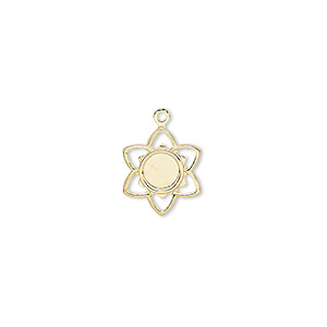 charm, gold-plated brass, 11x11mm flower with 4mm round setting. sold per pkg of 50.