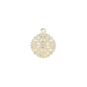 charm, gold-plated brass, 13x13mm round snowflake. sold per pkg of 100.
