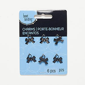 charm, gunmetal-finished steel, black, 15x10mm bow. sold per pkg of 6.
