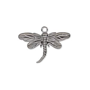 charm, gunmetal-plated brass, 26x15mm single-sided dragonfly. sold per pkg of 20.