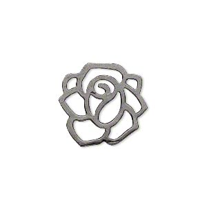 charm, gunmetal-plated steel, 20x20mm fancy flower with cutouts. sold per pkg of 50.