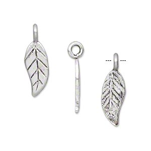 charm, hill tribes, antique silver-plated copper, 16x7mm single-sided leaf. sold per pkg of 4.