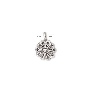 charm, hill tribes, antiqued fine silver, 10x10mm single-sided flower. sold individually.