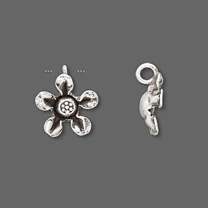 charm, hill tribes, antiqued fine silver, 13x13mm curved-leaf flower. sold individually.