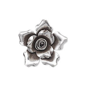 charm, hill tribes, antiqued fine silver, 22x22mm flower. sold individually.