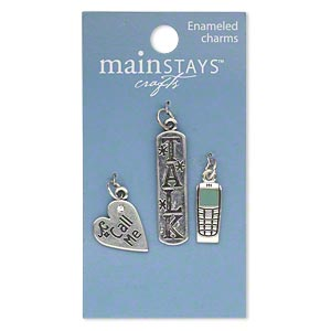 charm, mainstays™, antiqued silver-finished brass and enamel, green, 18x8mm cell phone, 18x15mm heart with call me and 34x9mm rounded rectangle with talk. sold per pkg of 3 charms. minimum 2 per order.