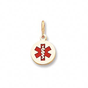 charm, medical alert id, 14kt gold and enamel, red, 10mm round. sold individually.
