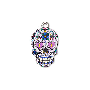 charm, resin and antique silver-plated pewter (zinc-based alloy), multicolored, 19x13mm single-sided dia de los muertos skull with flower and heart design. sold individually.