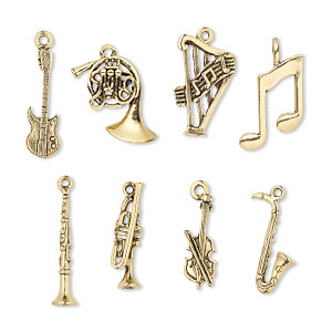 charm set, antique gold-plated pewter (tin-based alloy), 22.5x6mm-29.5x23.5mm music theme. sold per 8-piece set.
