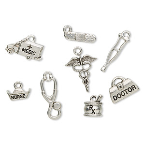 charm set, antique silver-plated pewter (tin-based alloy), 9x7mm-20x16mm medical theme. sold per 8-piece set.