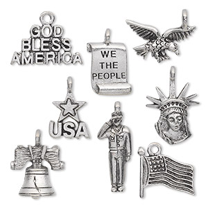 charm set, antiqued pewter (tin-based alloy), 14.5x9mm-23.5x18.5mm patriotic theme. sold per 8-piece set.