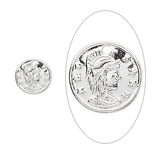 charm, silver-plated brass, 10mm roman coin replica. sold per pkg of 100.