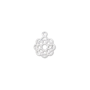 charm, silver-plated brass, 10x10mm open flower. sold per pkg of 100.
