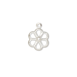 charm, silver-plated brass, 12x12mm open flower. sold per pkg of 50.