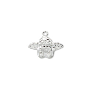 charm, silver-plated brass, 17x11mm angel. sold per pkg of 100.