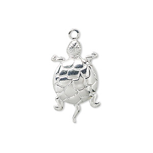 charm, silver-plated brass, 24x14mm turtle. sold per pkg of 10.