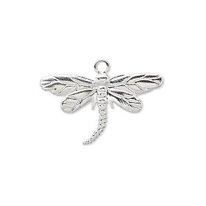 charm, silver-plated brass, 26x15mm single-sided dragonfly. sold per pkg of 100.