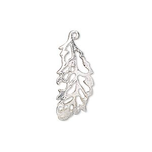 charm, silver-plated copper, 24x11mm single-sided feather with cutouts. sold per pkg of 4.