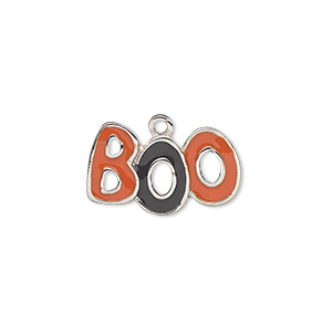 charm, silver-plated pewter (zinc-based alloy) and enamel, black and orange, 20x12mm single-sided boo. sold individually.
