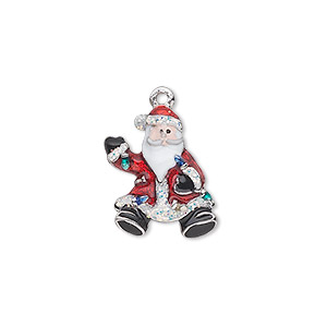 charm, silver-plated pewter (zinc-based alloy) and enamel, multicolored, 18x14mm single-sided waving santa with strand of lights and glitter. sold individually.
