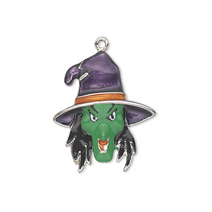 charm, silver-plated pewter (zinc-based alloy) and enamel, multicolored, 25x21mm single-sided witchs head. sold individually.