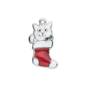 charm, silver-plated pewter (zinc-based alloy) and enamel, red / white / green, 23.5x15mm single-sided stocking with kitten wearing a bow. sold individually.