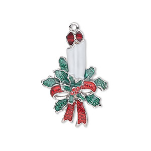 charm, silver-plated pewter (zinc-based alloy) and enamel, white / green / red, 29x19.5mm single-sided candles with holly and bow. sold individually.