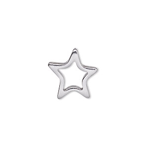 charm, stainless steel, 16.5x16mm single-sided open star. sold per pkg of 2.