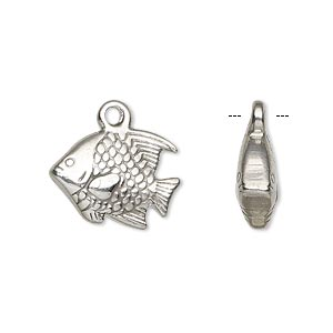 charm, stainless steel, 18x13mm double-sided fish, sold per pkg of 2.