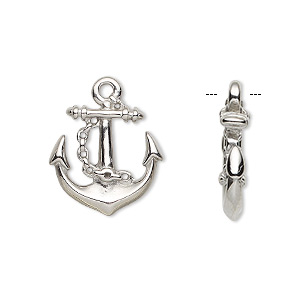 charm, stainless steel, satin, 20.5x17mm double-sided anchor. sold individually.
