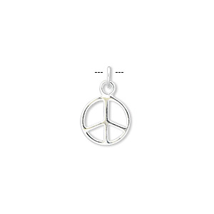charm, sterling silver, 10mm double-sided peace symbol. sold per pkg of 6.