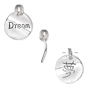 charm, sterling silver, 14mm double-sided curved flat round with dream. sold individually.