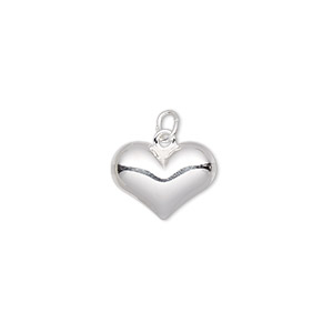 charm, sterling silver, 14x10mm puffed heart. sold per pkg of 2.