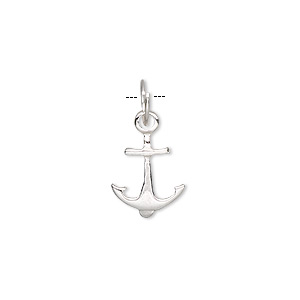 charm, sterling silver, 15x11mm anchor. sold per pkg of 2.