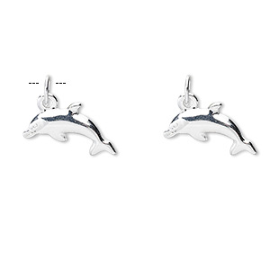 charm, sterling silver, 15x8x2mm dolphin, detailed on both sides. sold per pkg of 2.