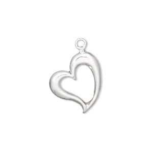 charm, sterling silver, 17x15m open heart. sold individually.