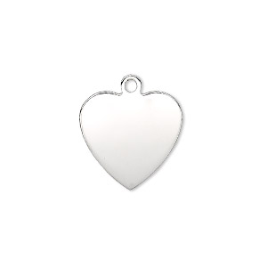 charm, sterling silver, 17x16.5mm single-sided smooth flat heart, 23-25 gauge. sold individually.