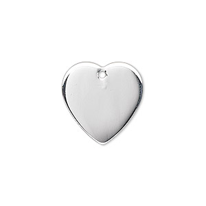 charm, sterling silver, 17x17mm top-drilled heart. sold individually.