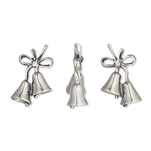 charm, sterling silver, 19x12mm double-sided bells. sold individually.